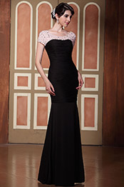 Elaborate Beaded Top Bateau Neck Pleated Mermaid Gown (C36145000)