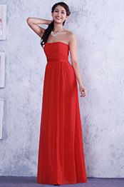 Robe demoiselle d'honneur bustier rouge drapés croisés (C36145102)
