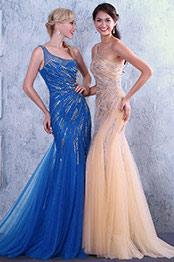 New Beige One Shoulder  Neckline Shiny Beaded Evening Dress Prom Dress (C36146014)