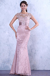Romantic Beaded Lace Applique Open Back Evening Gown Mother of the Bride Dress (C36146246)