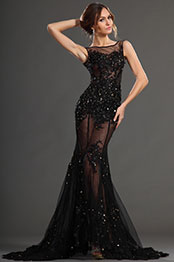 eDressit 2013 S/S Fashion Show Handmade Flowers Sexy Black Evening Dress Prom Gown (F00131400)