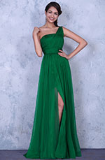 Elegant Beaded One Shoulder Pleated Evening Dress Bridesmaid Dress (00137104)
