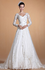 Carlyna 2014 Neu V-Ausschnitt Spitze Ärmel Perlen Mieder Hochzeitskleid (C37140507)