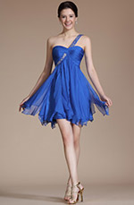 Carlyna 2014 New Blue Elegant One Shoulder Beadings Cocktail Dress/ Bridesmaid Dress (C04140105)