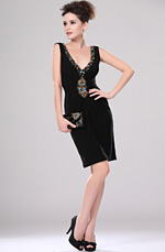 eDressit Sexy Black V-cut Beaded Cocktail Dress (04113100)