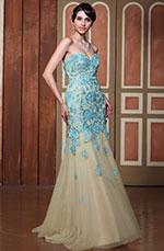 Gorgeous Strapless Lace Applique Prom Gown Graduation Ball Dress (C36144605)
