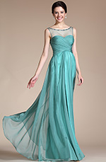 Carlyna 2014 New Adorable Turquoise Round neckline Evening Gown (C00145304)
