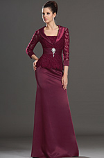 eDressit Elegant Wine Lace Mother of the Bride Dress Day Dress (26132617)