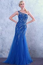 Robe de bal/robe de soirée bleue sirène col asymétrique (C36146005)