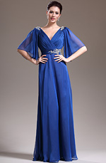 eDressit Nouveauté Sexy V-décolleté Bleu Robe Mère de Mariée(26134205)