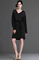 eDressit 2012 Neuvo Negro Elegante Escote en V Vestido de Día (03123800)