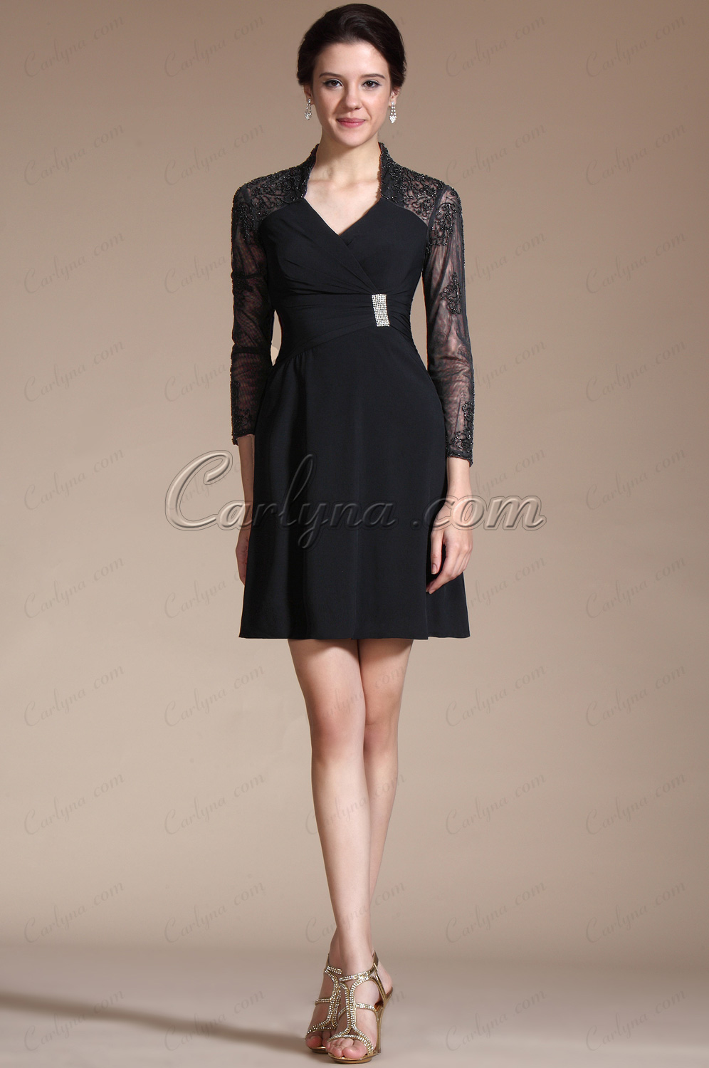 Carlyna 2014 New Black 3/4 Sleeves V-cut Cocktail Dress/Mother of the Bride Dress (C35140100)