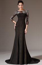 eDressit 2014 New Black Sheer Top Tulle Sleeves Prom Gown (02143900)