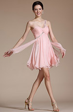 Carlyna 2014 New Pink One Shoulder Beadings Cocktail Dress/ Party Dress(C04140101)