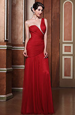Graceful Red One Shoulder Pleated Evening Gown Bridesmaid Dress (C00142602)