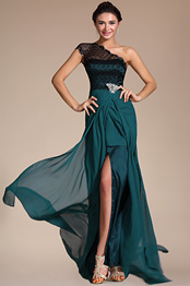 Carlyna 2014 New Elegant Lace Shoulder High Split Evening Dress (C00131605)