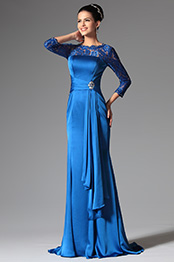 Noble Blue Long Lace Sleeves Mother of the Bride Dress (26148405)