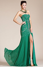 Carlyna 2014 New Green Strapless High Slit Evening Dress/Bridesmaid Dress (C36140304)