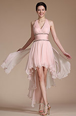Carlyna 2014 New Pink Halter Beaded Cocktail Dress/ Party Dress (C04140801)