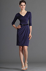 eDressit Long Sleeves V-Cut Dark Blue Party Dress Day Dress (03120605)