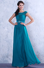 Blue Charming  Lace Cap Sleeves Evening Dress Formal Gown (02132205)