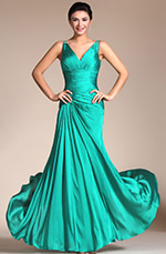 Carlyna 2014 New Turquoise Sexy V-cut Transparent Back Evening Dress (C00140411)