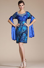 Carlyna 2014 New Blue U-neck Overlace Half Sleeves Mother of the Bride Dress (C35140505)