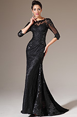 eDressit 2014 New Black Half Sleeves Lace Evening Gown (02140700)