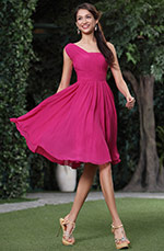 Simple Ruched One Shoulder Cocktail Dress Bridesmaid Dress (C04134312)