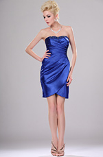 eDressit New Blue Strapless Ruched Cocktail Dress (04113405)