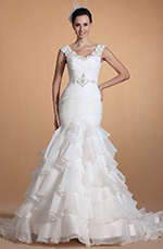 Carlyna 2014 New Elegant V Neck Mermaid Wedding Gown (C37140407)