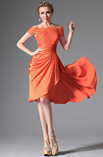 eDressit Orange Epaule dégagée Robe de Cocktail  (w04124610)