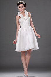 eDressit Hot Style White Halter Knee Length Wedding Dress (01111307)