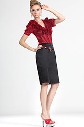 eDressit Attractive Stylish Lady Short Sleeves Red Blouse (03111902)