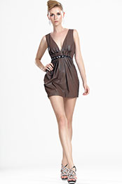eDressit New Fashionable Deep V-Neckline Leather Day Dress (03112820)