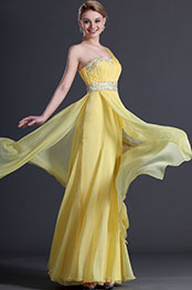 eDressit Glamorous Yellow One Shoulder Evening Dress (00121103)