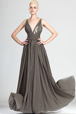 eDressit Elegant V-cut Brown Evening Dress (00124108)