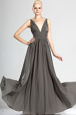 Alluring V-cut Gray Evening Dress Bridesmaid Dress (W00124108)
