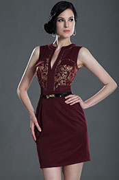 eDressit Gorgeous V Net Dark Red Party Dress Day Dress (03123717)