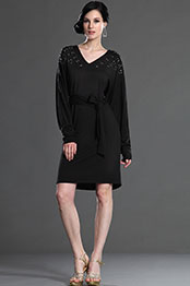 eDressit Black Elegant V-cut neckline Day Dress (03123800)