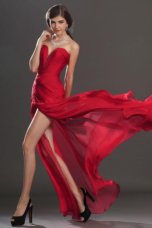 eDressit Artikel Schick Faltig Oberkörper Rotes Abendkleid (00120502)