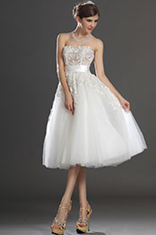 eDressit Lovely Short Strapless Lace Bodice Wedding Dress (01130107)