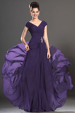 eDressit New Sexy V-neck Purple Mother of the Bride Dress (26132706)