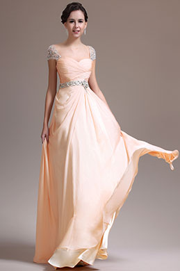 Beige Beaded Cap Sleeves Prom Dress Evening Dress (00137214)