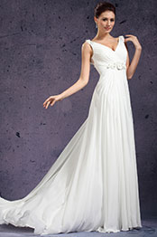 eDressit New V-cut Handmade Flowers Evening Dress Wedding Gown (01130807)