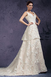 eDressit New V-cut Lace Appliques Evening Dress Wedding Gown (01131014)