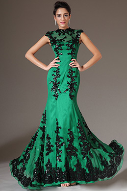 Stunning Green Evening Gown Mermaid with Black Lace (02120704)