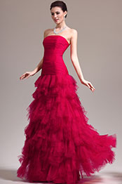 eDressit New Stunning Red Strapless Pleated Evening Dress Prom Gown (02133702)