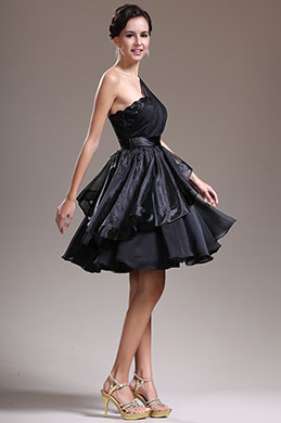 eDressit New One Shoulder Black Cocktail Dress Party Dress (04134800)