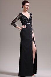 eDressit New Sexy V Neck Lace Black Mother of the Bride Dress (26135000)